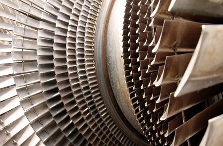 water turbine: water turbine machine part for turning water jet in to electric power. blades constructed in metal