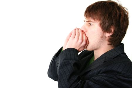 shouting or communicating message. young adult with hands in front of mouth to shout loud Stock Photo - 5778079