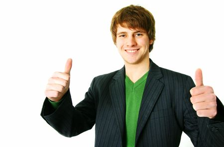 thumbs up, young adult signal ok or success. student portrait on isolated on white background Stock Photo - 5778074