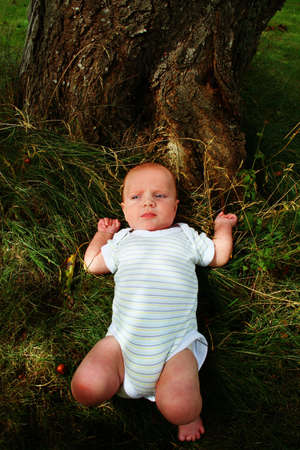baby infant sleep in garden on grass. child outdoors in the shade Stock Photo - 5788307