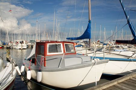 yacht or motor boat at harbor moored at jetty in denmark Stock Photo - 5788299