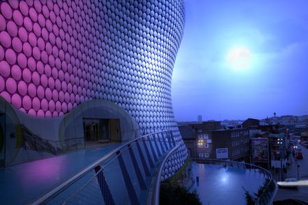 bullring: bullring building and view of birmingham at night by moon light. famous english architecture Stock Photo