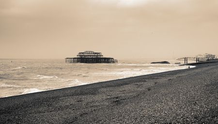 brighton old victorian pier. the remains after the fire of the burnt out historic building Stock Photo - 5777537