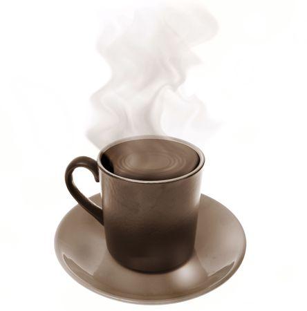 caff� in tazza. Birra calda con vapore isolata on white. rinfresco in tazza con piattino  Archivio Fotografico