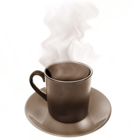 steam: coffee in cup. Hot brew with steam isolated on white. refreshment in mug with saucer