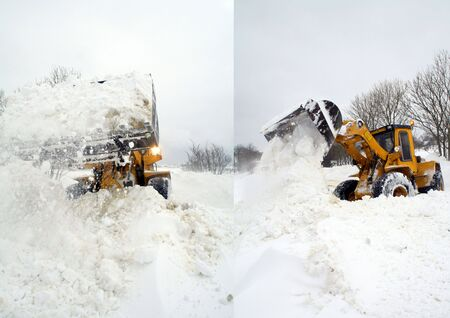 plows: digger or jcb clear snow of road during winter blizzard or storm