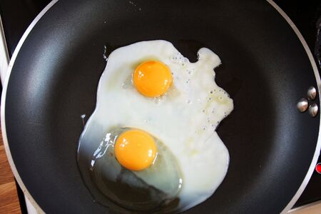 fried eggs on pan. breakfast fry-up or snack cooking on cooker photo