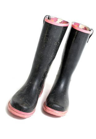 footware: wellies or wellington boots. footware for rain isolated on white. black and pink adults work garden boots