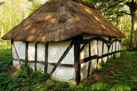 cottage or hut in forest. straw thatched half timbered home photo