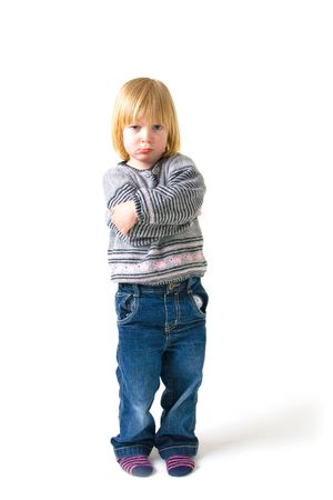 Child isolated on white with angry or annoyed expression Stock Photo - 5778075