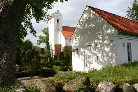 church in denmark in scandinavia. typical christian evangalic Lutheranian place of worship photo