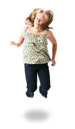 child jumping, happy teenager or kid girl jump isolated on white Stock Photo - 5781964