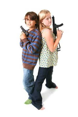 children with guns isolated on white. boy and girl playing gangsters photo