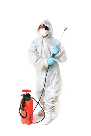 insecticide: Child in protective suit with mask and spray with poison or pesticide isolated on white