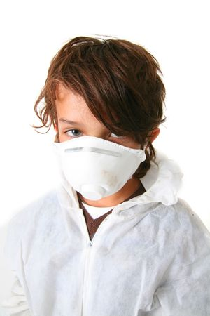 fungicide: child in protective suit and with mask isolated on white
