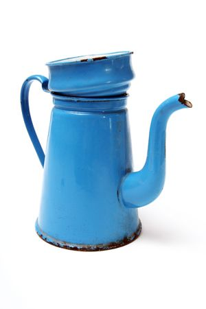 coffee pot in enamel. traditional danish vintage coffee maker known as madam blue isolated on white photo