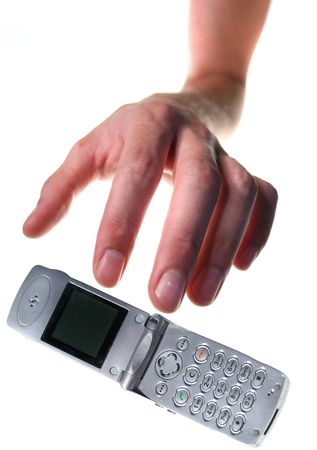 stealing: mobile phone theft. hand steal cellphone or drop it isolated on white.