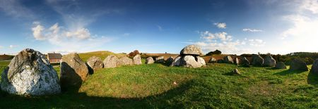 stoneage: Stoneage or viking style burial site on Mols in Denmark. panoramic of Stone grave