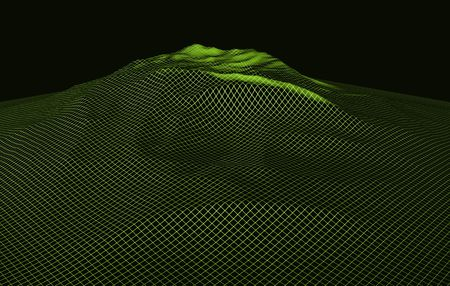 elevate: virtual reality computer generated wire-frame landscape. map topography indicated by mesh