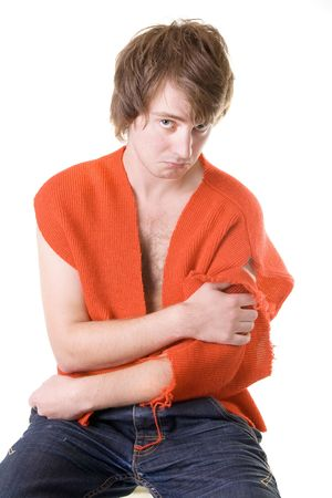 poor student with worn out jumper. man isolated on white sad and bankrupt Stock Photo - 5780203