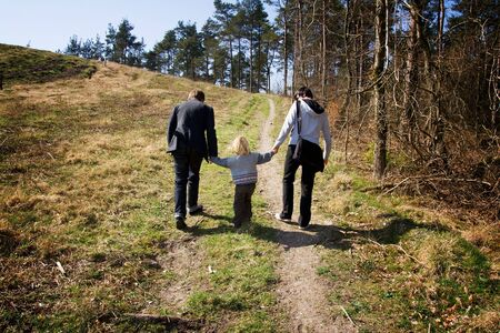 child in forest, brothers in the woods. kid on active day out in nature photo