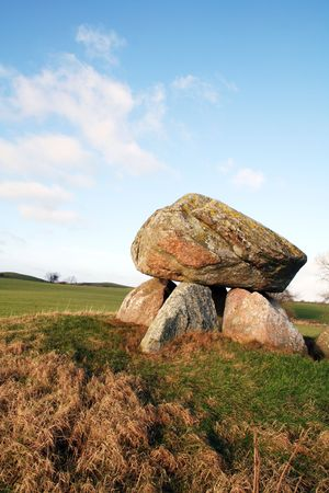 grave site: stone age burial site made from rock. ancient grave of king in denmark Stock Photo