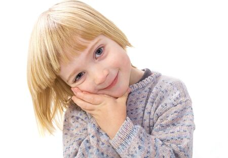 endearing: Cute endearing child. boy smiling isolated on white. kid being appealing