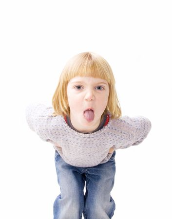 angry child sticking out tongue display of attitude. naughty boy teasing isolated on white photo