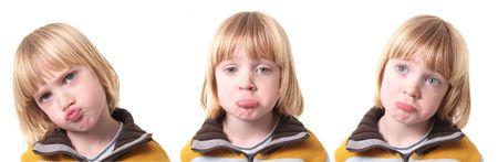 sad or upset child isolated on white. blond boy kid show emotion of sadness or depression Stock Photo - 6134032