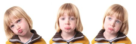 sad or upset child isolated on white. blond boy kid show emotion of sadness or depression Stock Photo - 6134032