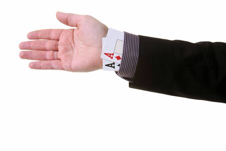 magic trick: ace up the sleeve or magic trick. cheating in card game or creating an unfair advantage
