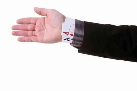 fraudster: asso il trucco Manica o magia. barare nel gioco di carte o la creazione di un vantaggio sleale