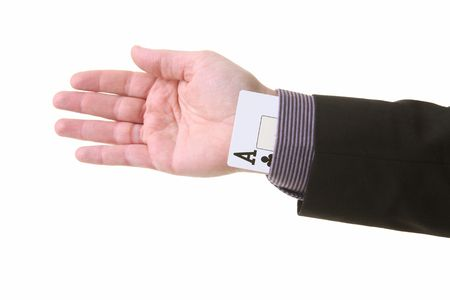 ace up the sleeve or magic trick. cheating in card game or creating an unfair advantage