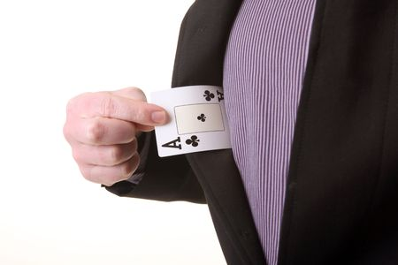 ace in pocket. businessman pull out advantage or magic trick by magician photo