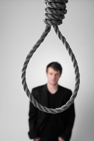 noose: businessman in front of noose or failure. man commit suicide or criminal ready for hanging punishment.