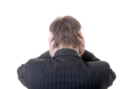 businessman holding ears refuse to listen or keep out noise or sound photo