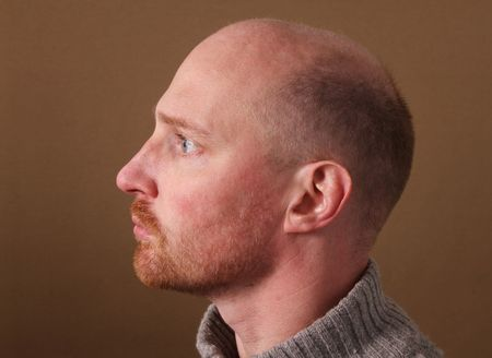 side pose: portrait of male with beard and bald. profile of white man in his thirties on brown background