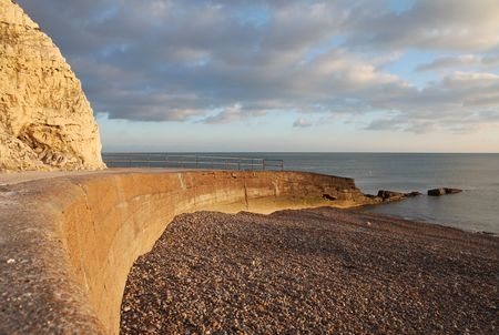 chalk cliff in sussex. English landmark, seven sisters hills by the sea in seaford. beach in spring and sunset Stock Photo - 6845162