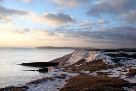 chalk cliff in sussex. English landmark, seven sisters hills by the sea in seaford. beach in spring and sunset Stock Photo - 6845160