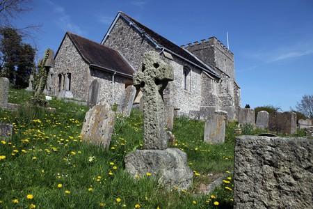 churchyard: Church in England. Medieval Saint Nicholas parish or village church in Bramber. religious building in sussex