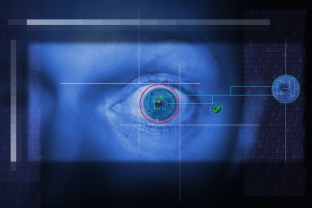 security scan of iris or retina to determine identity. technology looking at eye photo