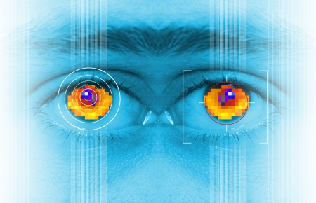 iris security scan of eye. digital security identification or password based on biometric data photo