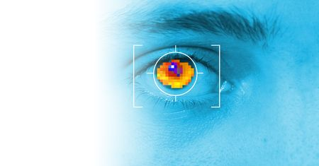 biometric: iris security scan of eye. digital security identification or password based on biometric data