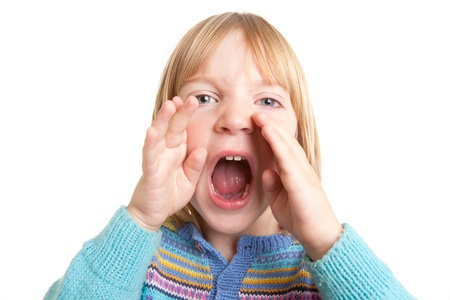 naughty boy: screaming child, kid yell or shout in anger isolated on white Stock Photo
