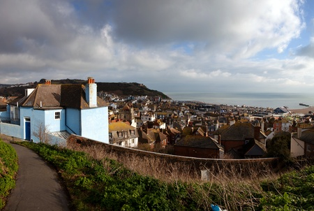 east coast: Hastings fishing village, view of the old town. seaside holiday resort in east sussex in England. cityscape with english houses