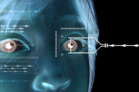 Iris scan, biometric scanning of eye retina for identification. Close-up of child pupil with high-tech graphic overlay  photo