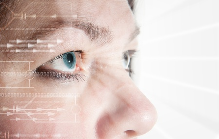 Iris scan, biometric scanning of eye retina for identification. Close-up of woman's pupil with high-tech graphic overlay  photo