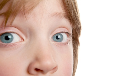 eyesight: eye of child, close-up of boy with blue eyes. kids face with focus on iris and nose