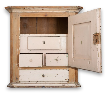 Cupboard or wall cabinet. antique furniture in wood. traditional Danish hanging tobacco cupboard with drawer and door photo