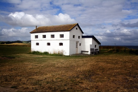 farm house: Farm house in Denmark. Home in the countryside isolated from other buildings on agriculture land or field